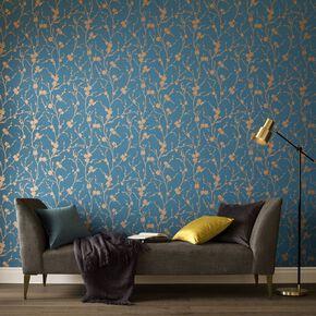 Meiying Teal Wallpaper, , large