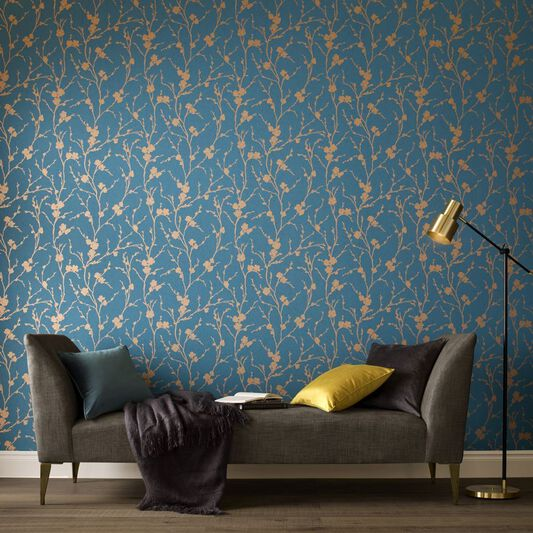 Meiying teal wallpaper grahambrownuk for Bright wallpaper for living room