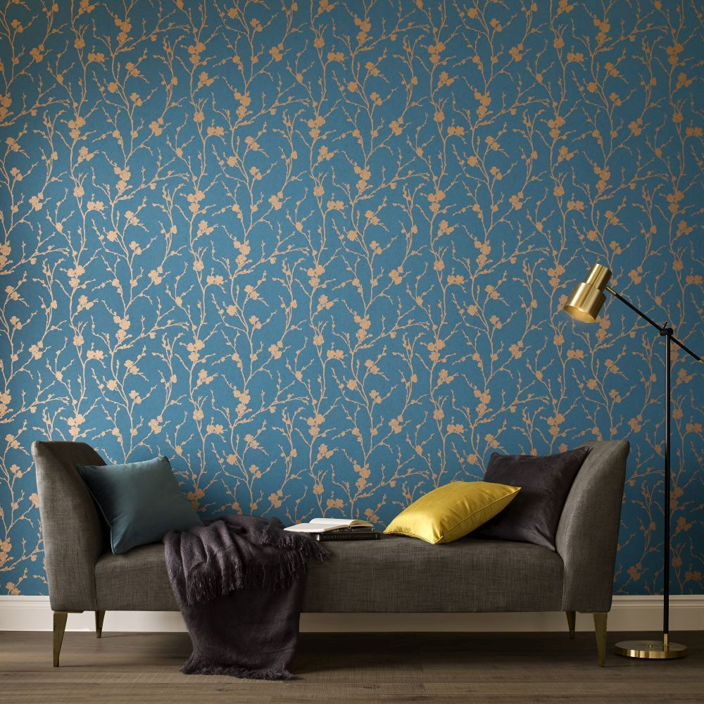... Large Meiying Teal Wallpaper, ... Part 25