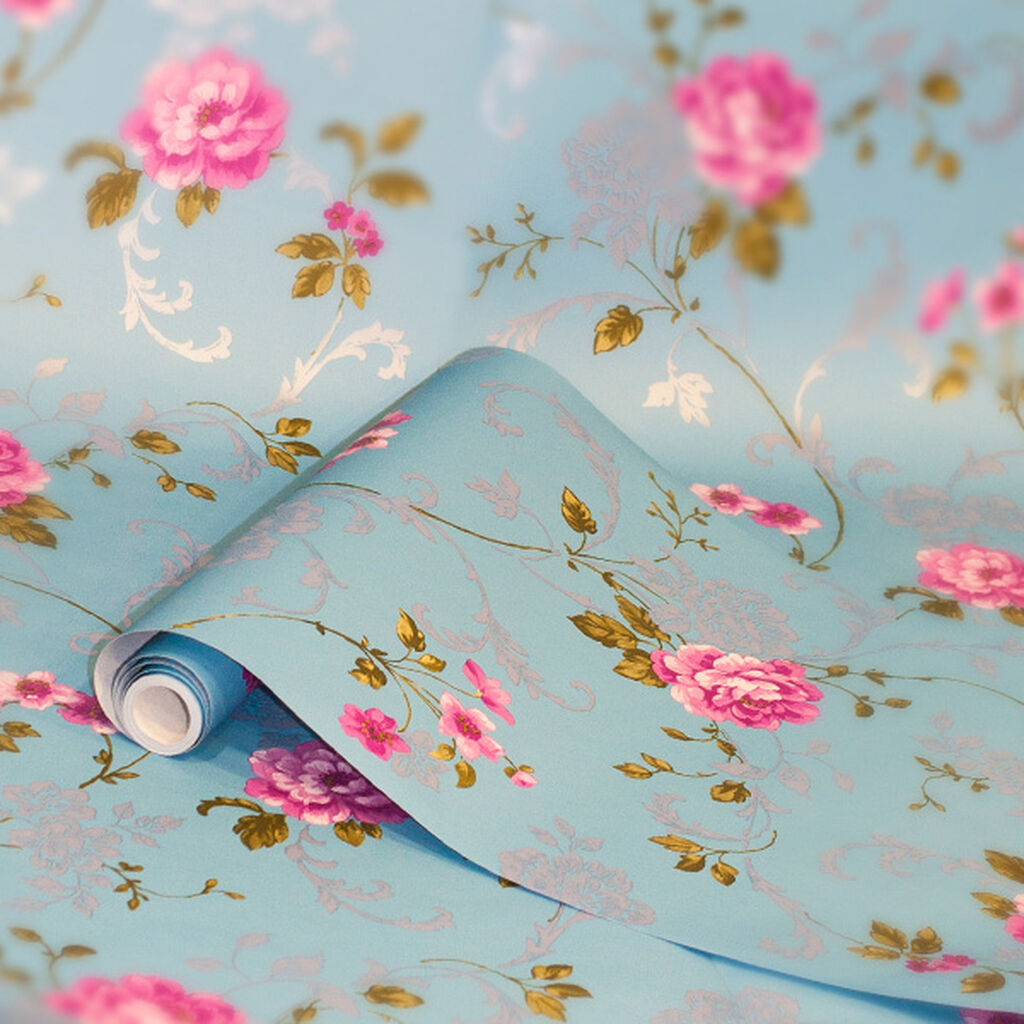 Northern Rose Blue And Pink Wallpaper Graham Brown