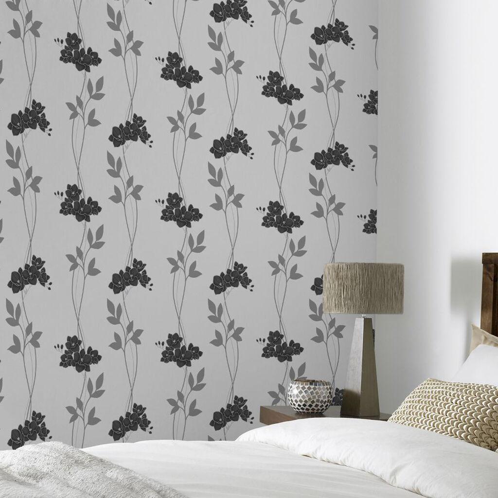 Serene black and white wallpaper graham brown for White wallpaper uk