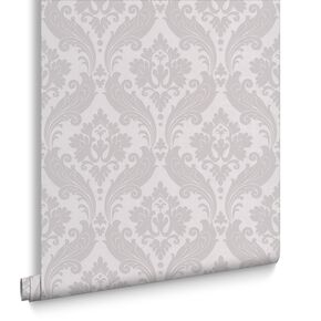 Vintage Flock Soft Grey Wallpaper, , large