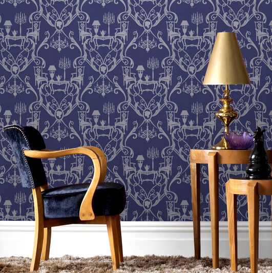 Damasquerade Blue and Silver Wallpaper, , large