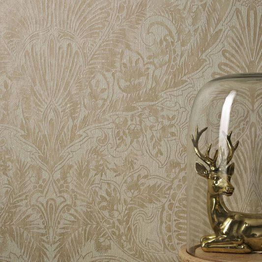 Burlesque cream and gold wallpaper graham brown for Designer wallpaper sale