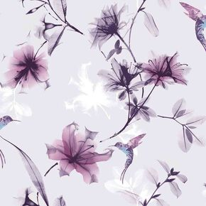 X-Ray Floral Purple Wallpaper, , large