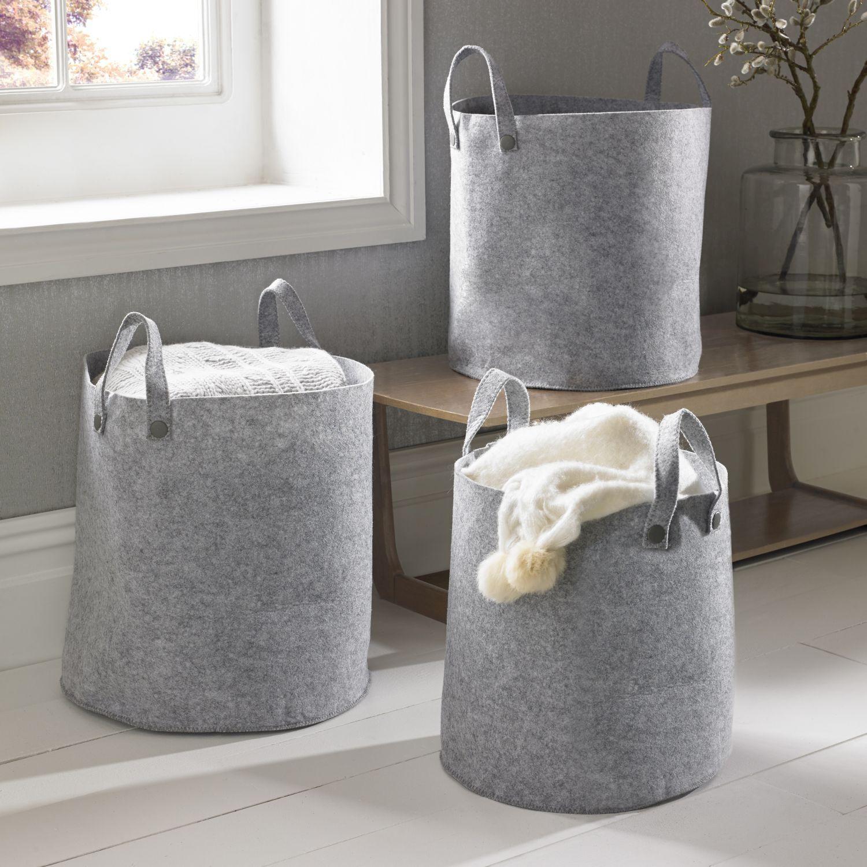 Set Of 3 Grey Felt Storage Baskets, ...