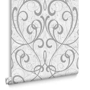 Light Grey / Silver Cork Damask Wallpaper, , large