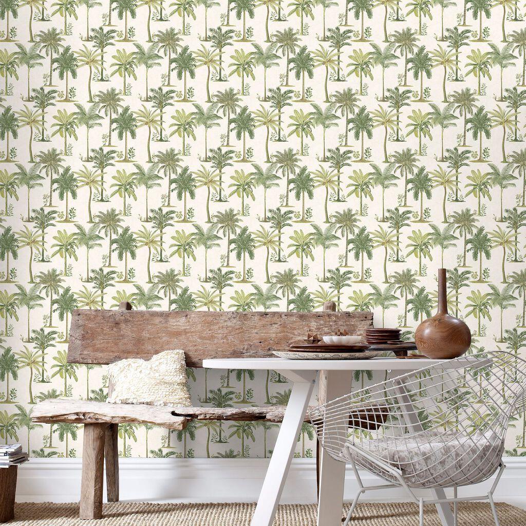 Fresco palm wallpaper graham brown - Papier peint little green ...