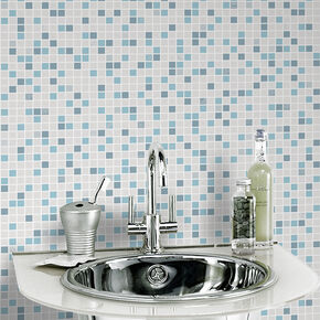 Large Checker Blue And White Wallpaper