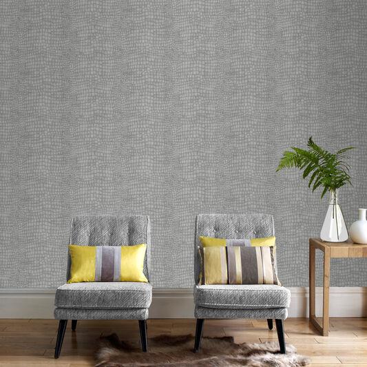 Crocodile grey wallpaper graham brown for Grey wallpaper in living room