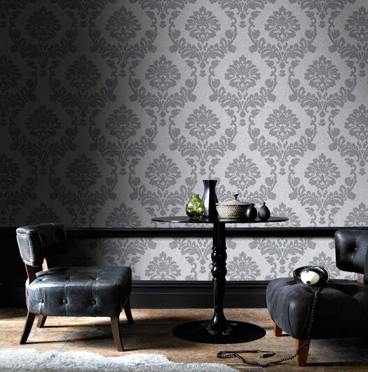 Dynasty silver and grey wallpaper grahambrownus for Black and grey bedroom wallpaper