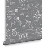 Chalk Board Grey Wallpaper, , large