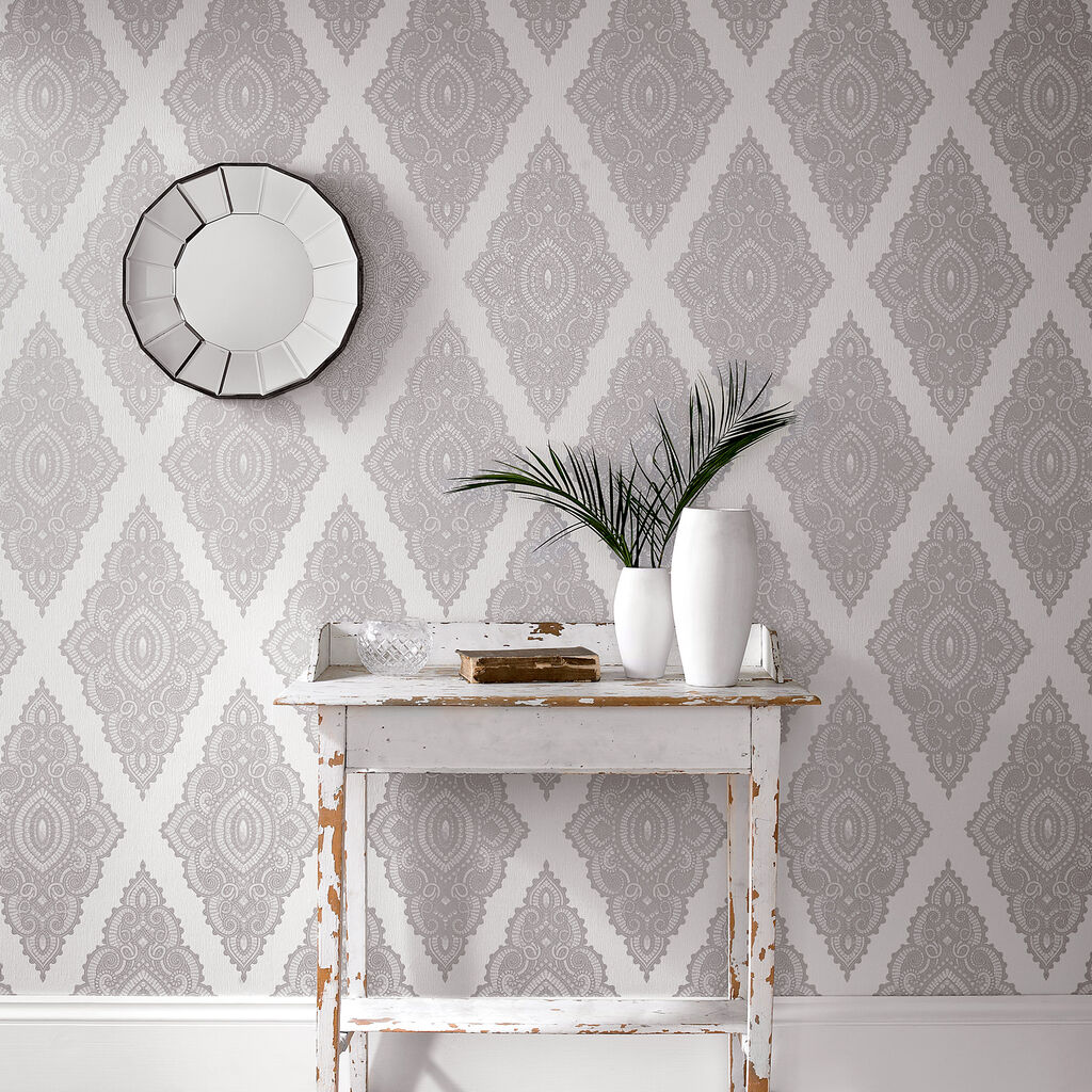 Jewel pearl and silver wallpaper graham brown for Gray and white wallpaper designs