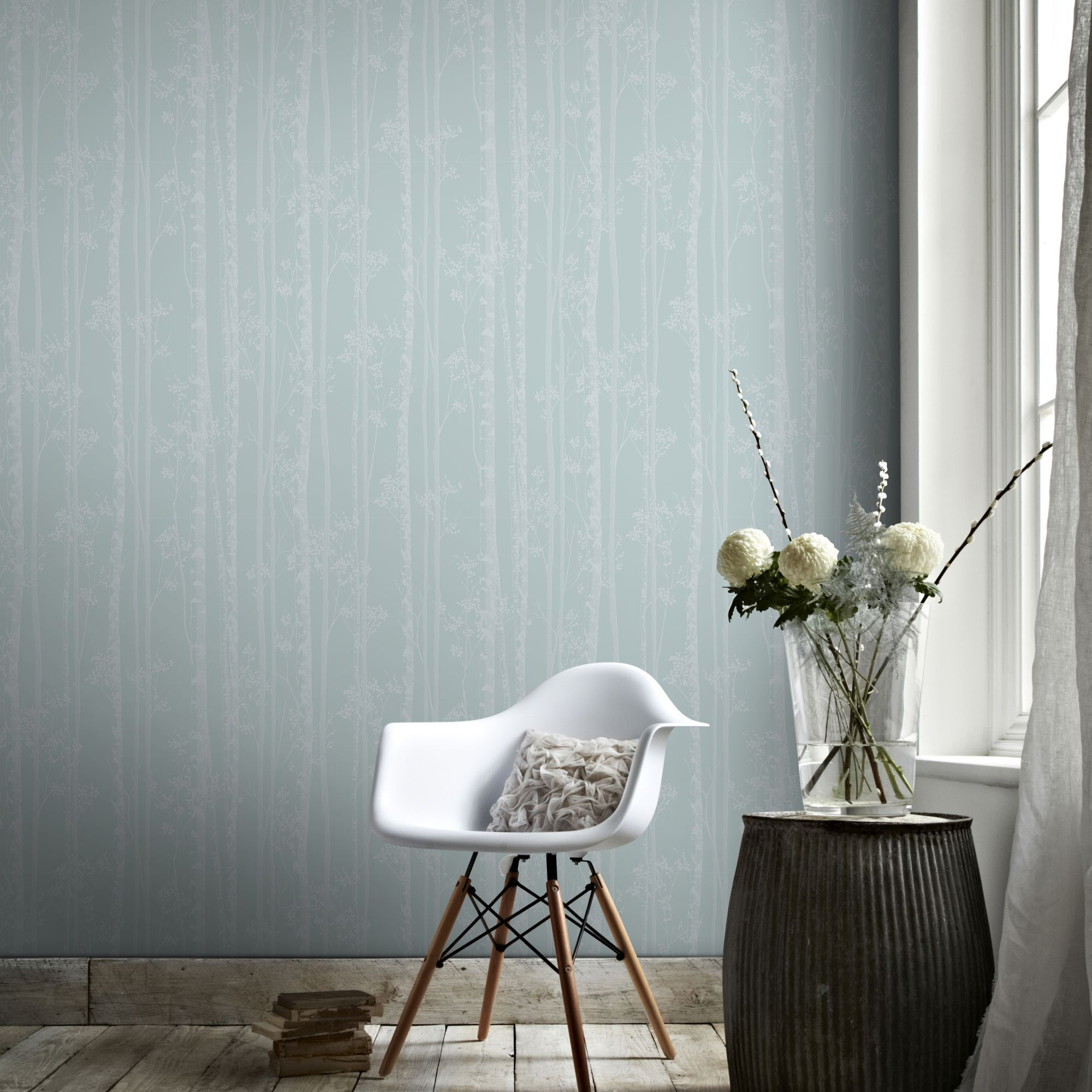 ... large Linden Blue and White Wallpaper, ...