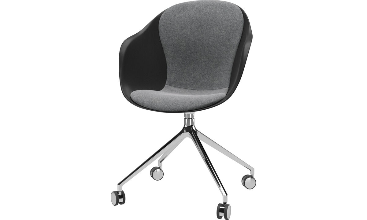 Home office chairs - Adelaide chair with swivel function and wheels - Grey - Fabric