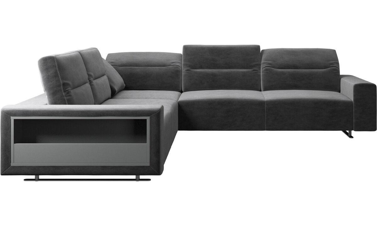 Canapés d'angle - Canapé d'angle Hampton avec dossier ajustable et espace de rangement - Gris - Tissu