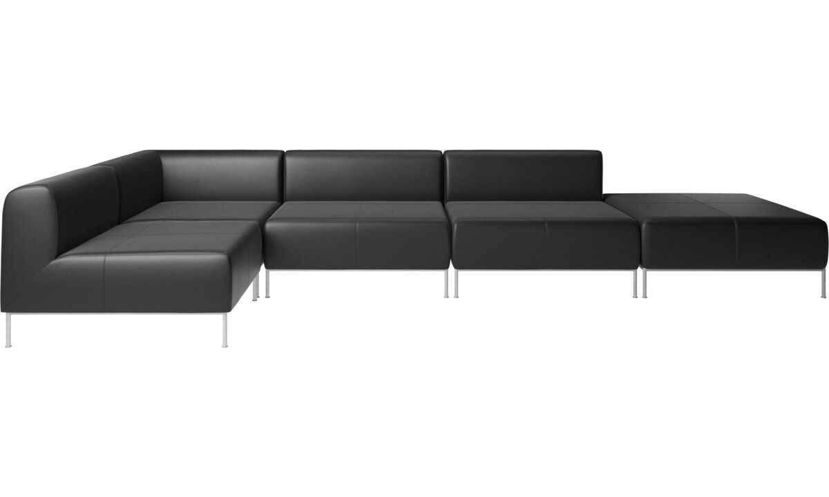 Modular sofas - Miami corner sofa with footstool on right side - Black - Leather