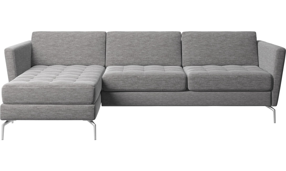 Sofas - Osaka sofa with resting unit, tufted seat - Grey - Fabric