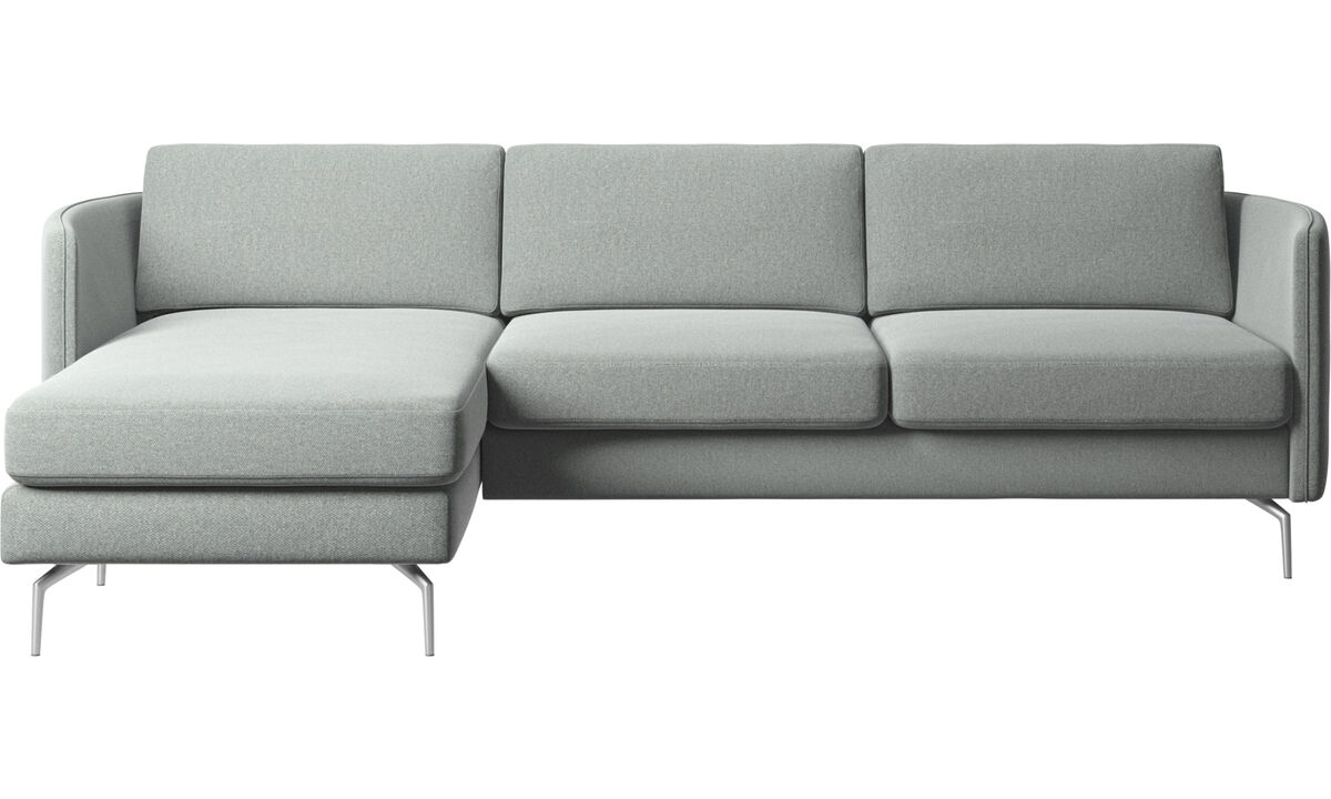 Chaise lounge sofas - Osaka sofa with resting unit, regular seat - Gray - Fabric