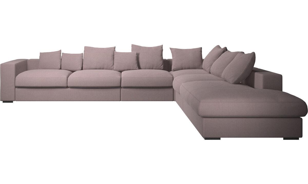 Corner sofas - Cenova corner sofa with lounging unit - Purple - Fabric