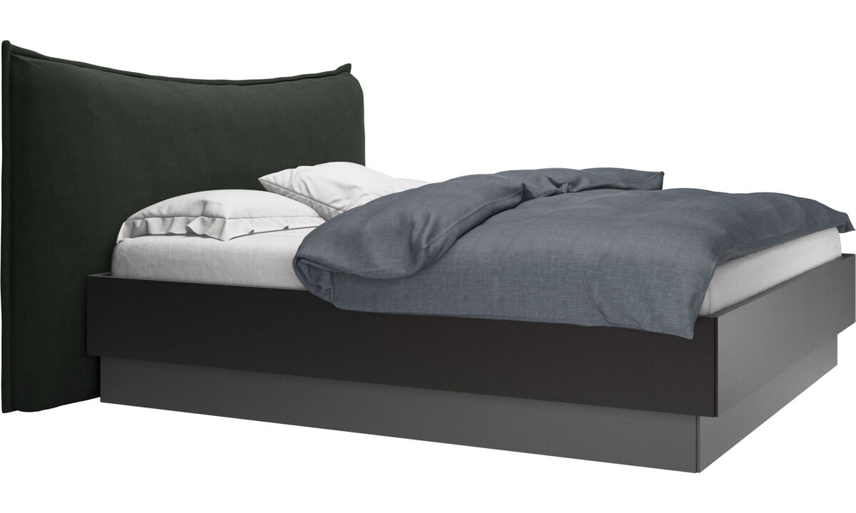 New beds - Gent storage bed with lift-up frame and slats, excl. mattress - Green - Fabric
