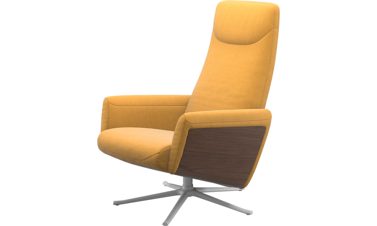 Armchairs - Lucca recliner with swivel function - Yellow - Fabric