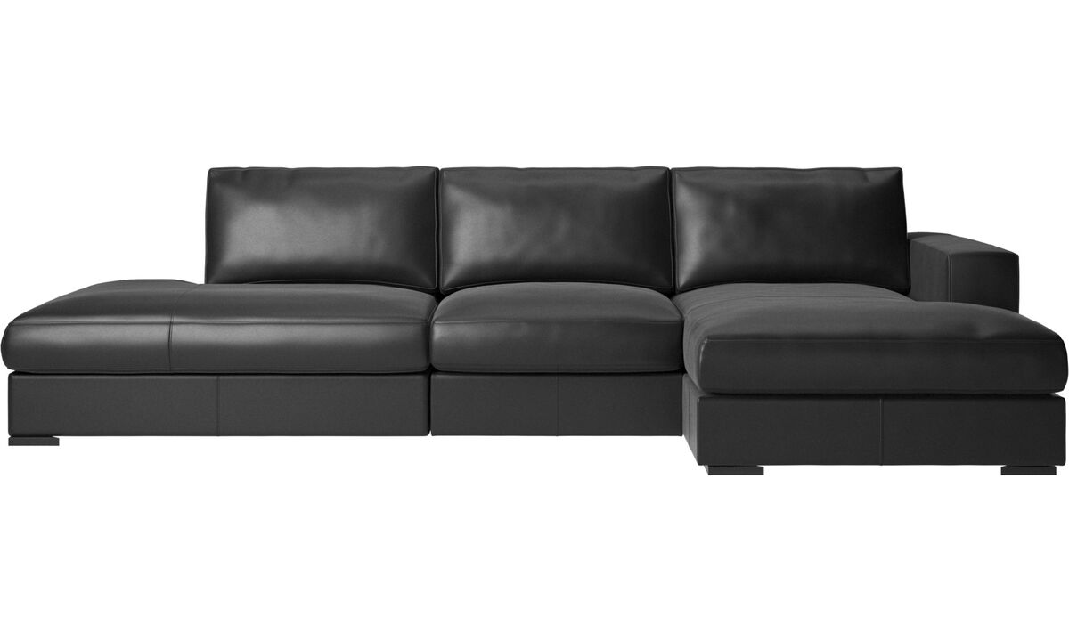 Sofas with open end - Cenova sofa with lounging and resting unit - Black - Leather