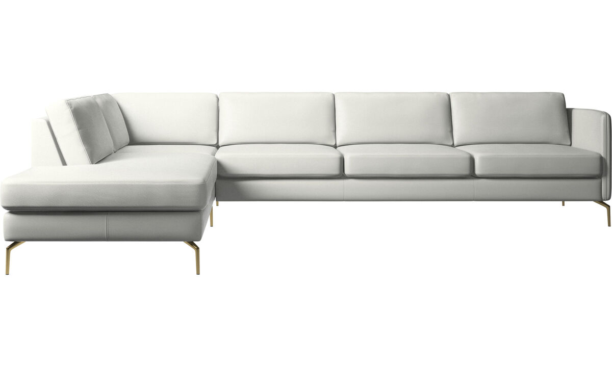 Sofas with open end - Osaka corner sofa with lounging unit, regular seat - White - Leather