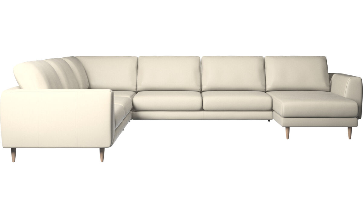 Chaise lounge sofas - Fargo corner sofa with resting unit - White - Leather