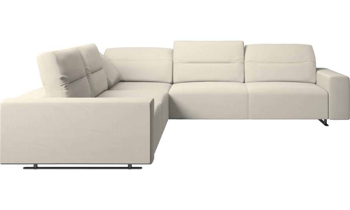 New designs - Hampton corner sofa with adjustable back - White - Fabric