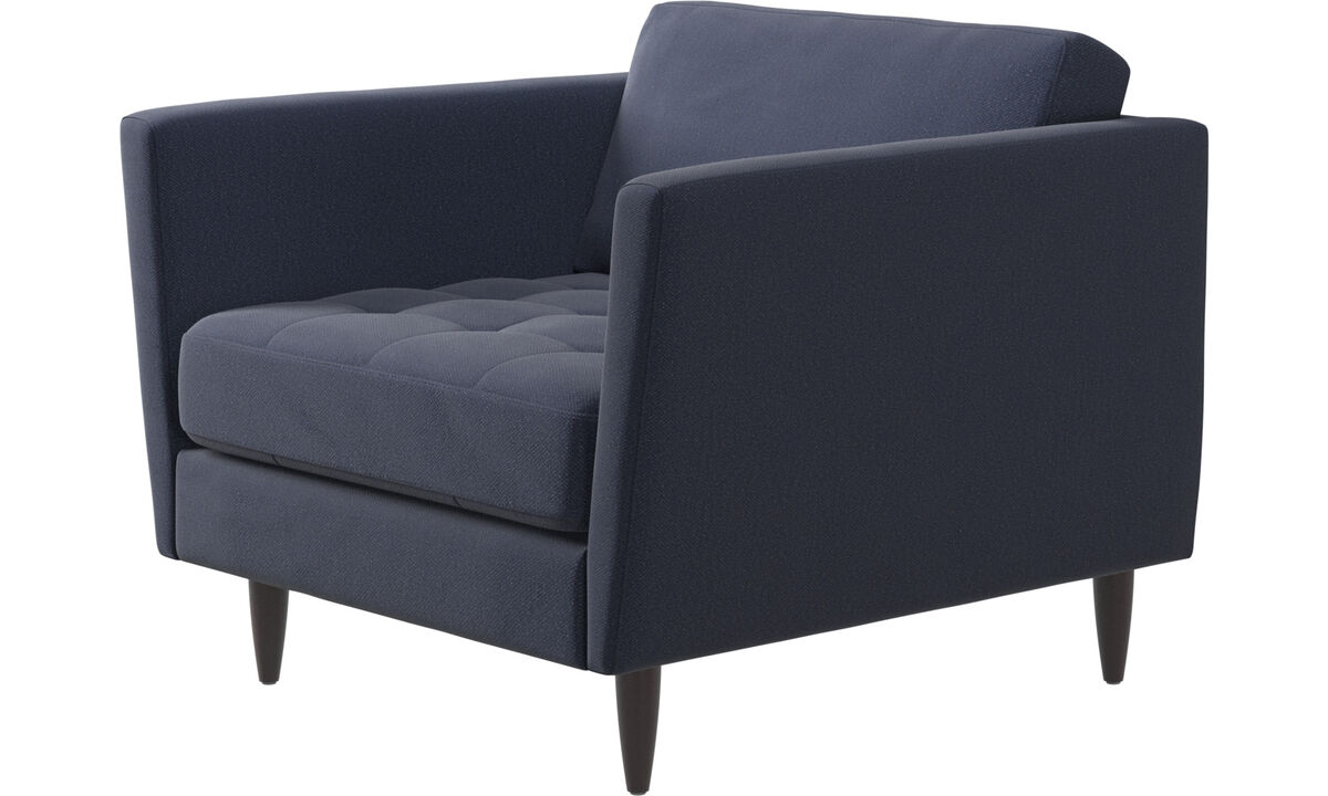 New designs - Osaka chair, tufted seat - Blue - Fabric