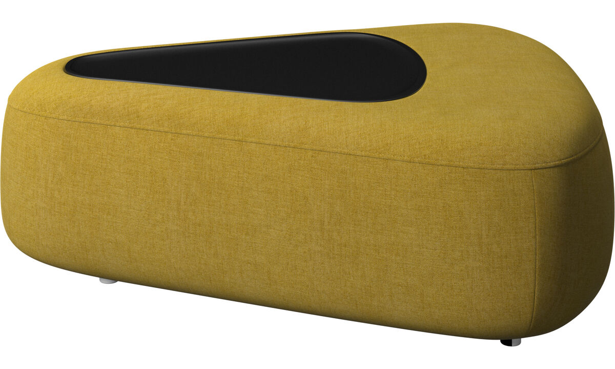 Modular sofas - Ottawa triangular pouf with tray with USB charger - Yellow - Fabric