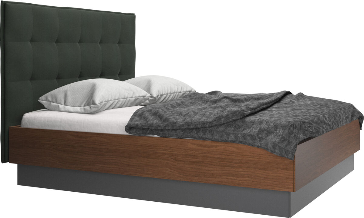 New beds - Lugano storage bed with lift-up frame and slats, excl. mattress - Green - Fabric