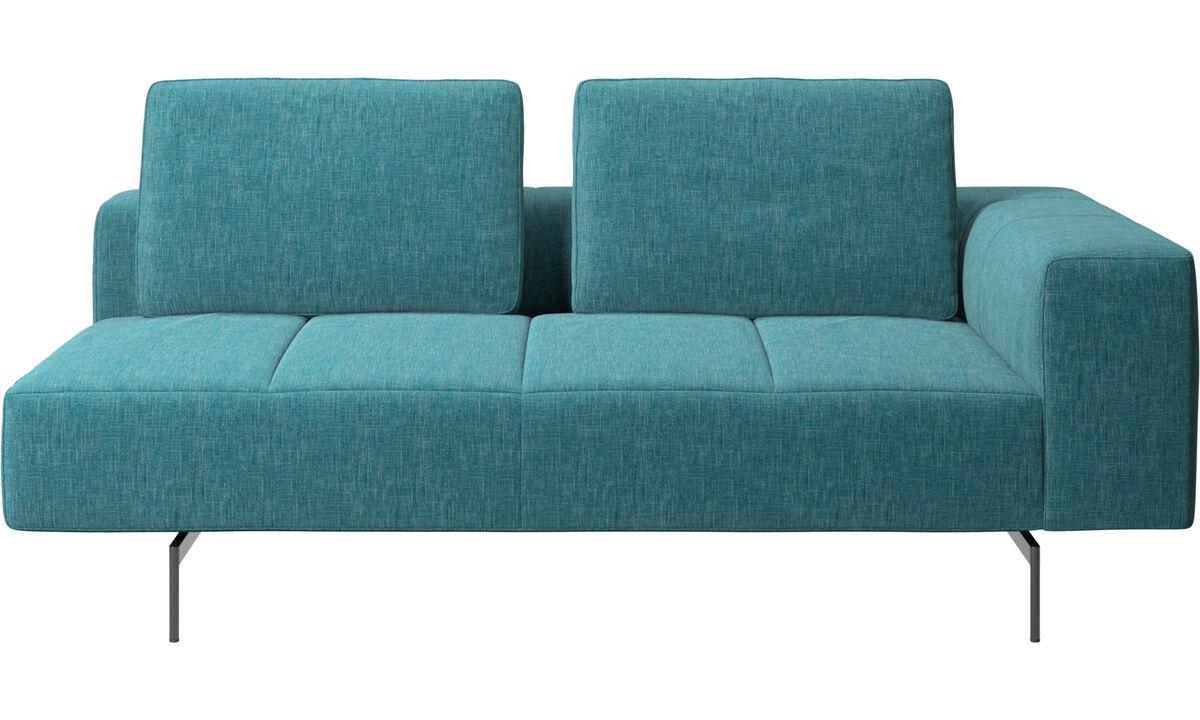 Canapés 2 places et demi - Module d'assise Amsterdam 2,5places, accoudoir droit - Bleu - Tissu