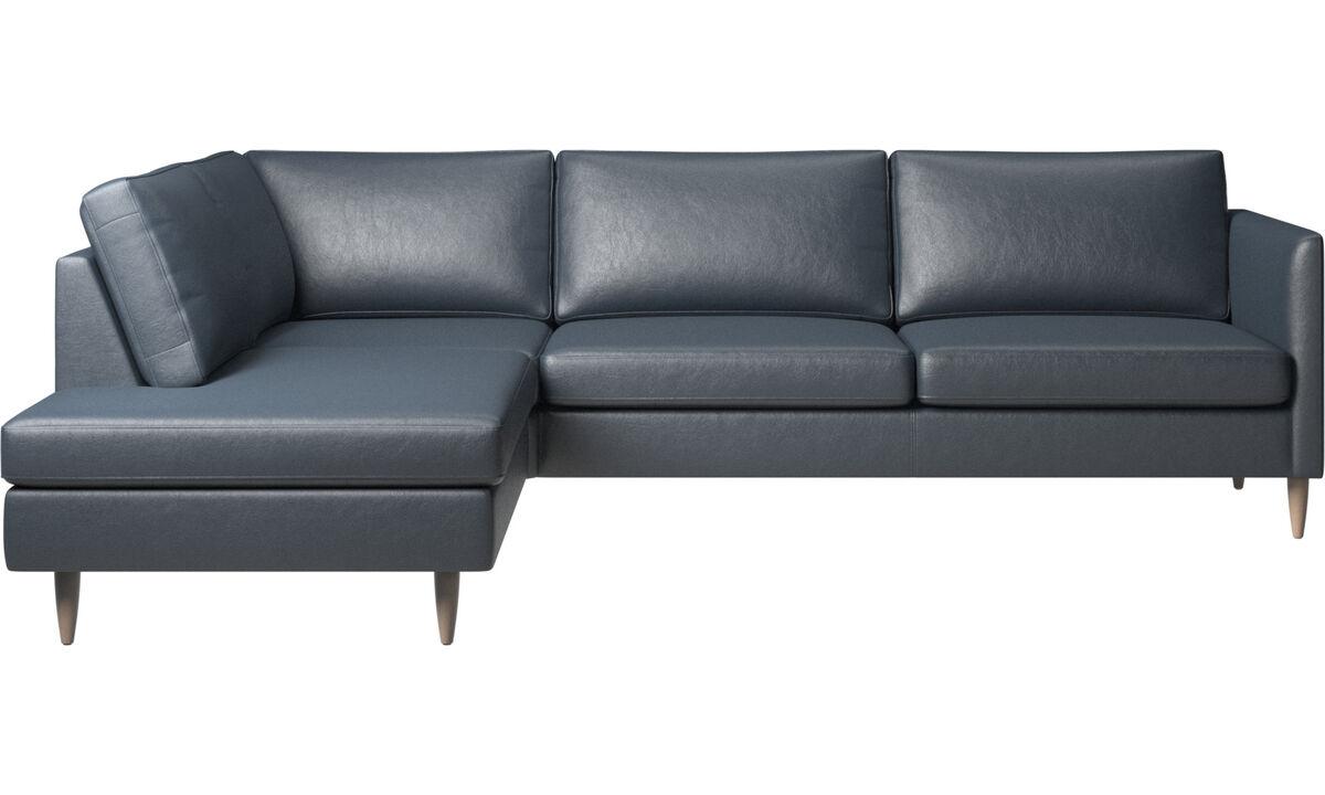 Καναπέδες με μονάδα lounging - γωνιακός καναπές Indivi με μονάδα lounging - Μπλε - Ύφασμα