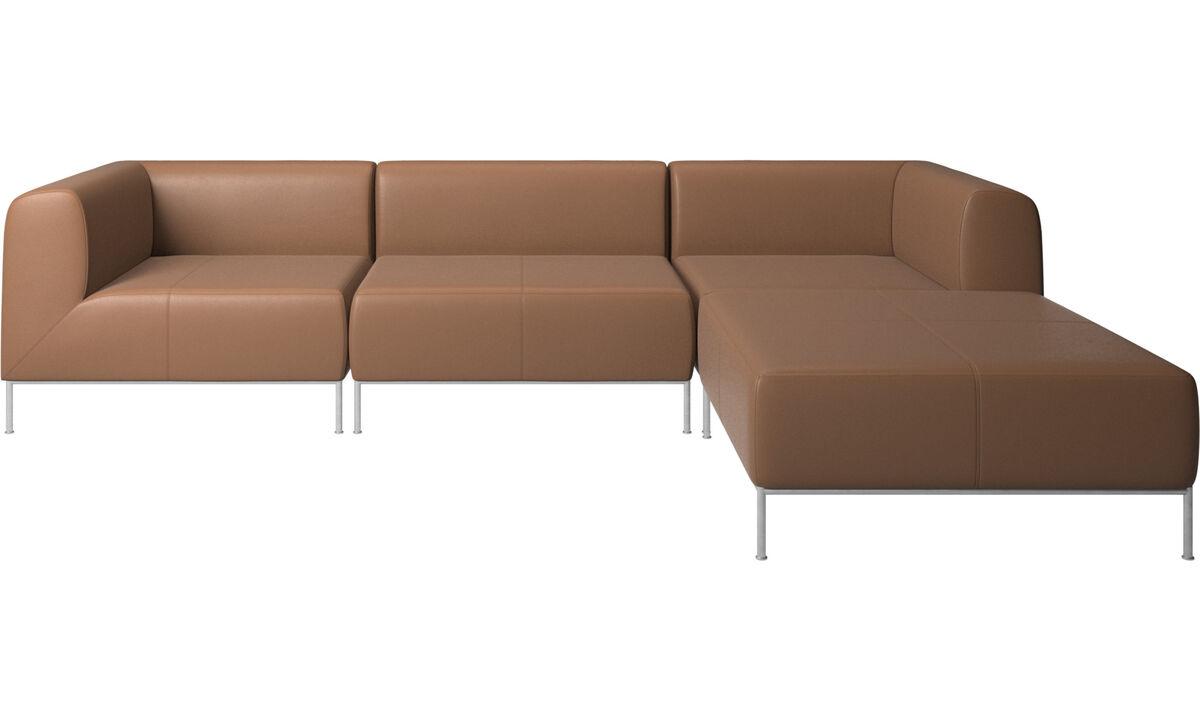 Sofás modulares - Sofá Miami con puf en lado derecho - En marrón - Piel