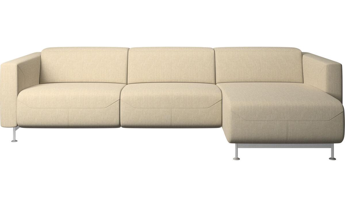 Relaxfauteuils - Parma-relaxbank met chaise longue - Bruin - Stof