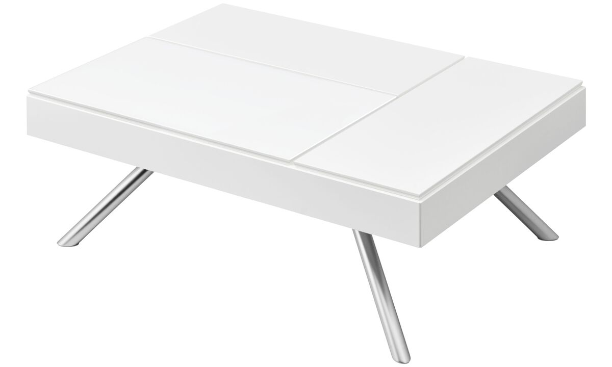 Coffee tables - Chiva functional coffee table with storage - rectangular - White - Lacquered
