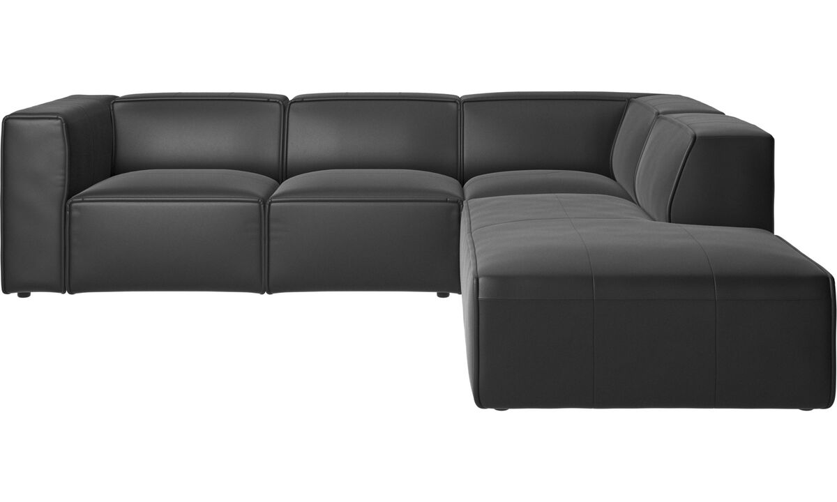 Recliner sofas - Carmo motion corner sofa - Black - Leather