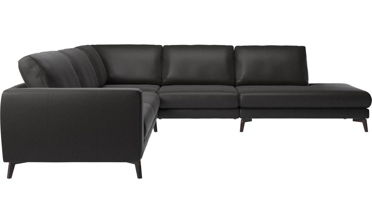 Sofas - Fargo corner sofa with lounging unit - Black - Leather