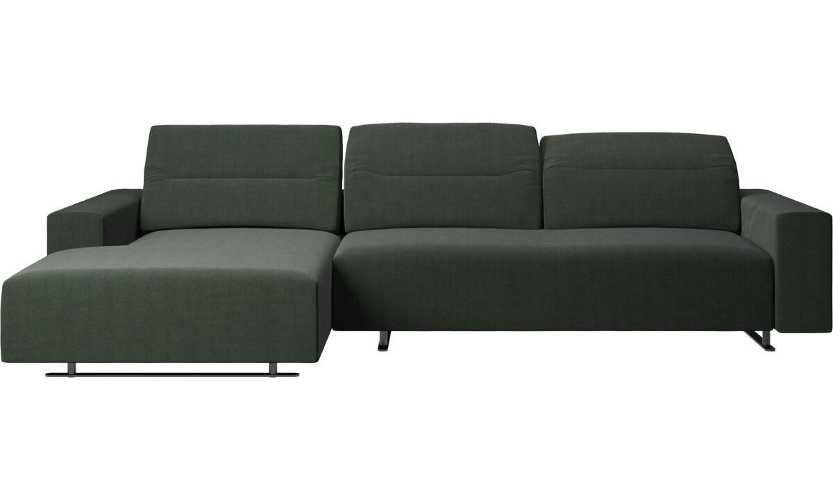 Sofás con chaise longue - Sofá Hampton con respaldo ajustable, módulo de descanso y almacenamiento en ambos lados - En verde - Tela