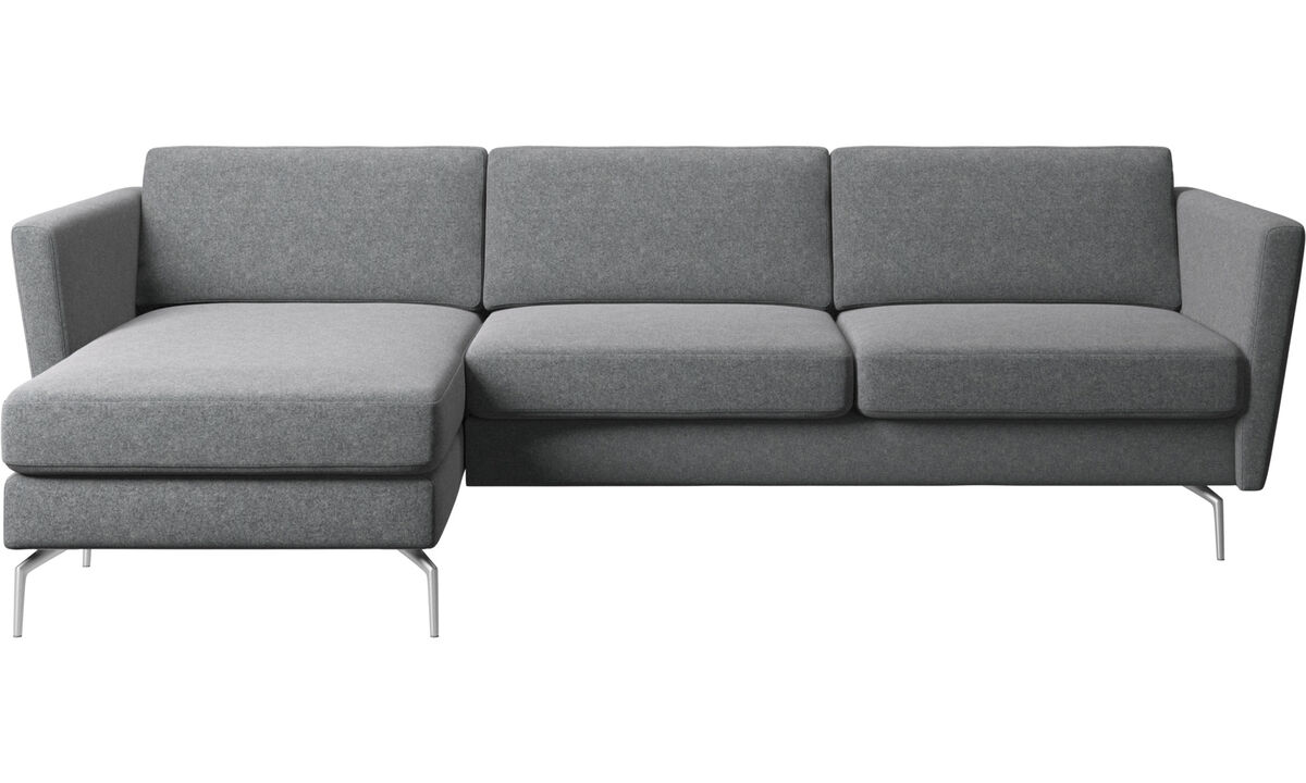 Chaise longue sofas - Osaka sofa with resting unit, regular seat - Grey - Fabric