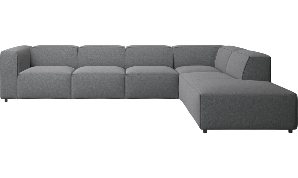 Sofas with open end - Carmo corner sofa with lounging unit - Grey - Fabric