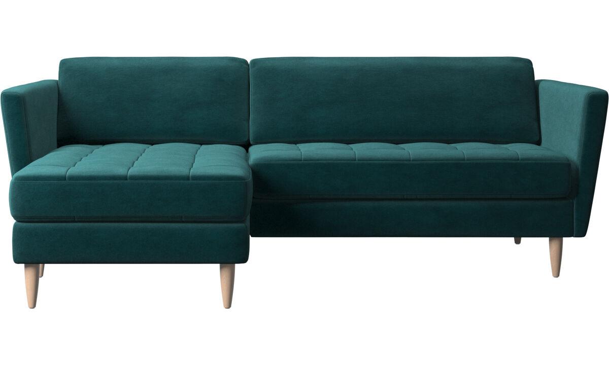 Καναπέδες με ανάκλινδρο - καναπές Osaka με μονάδα resting, καπιτονέ μαξιλάρι καθίσματος - Μπλε - Ύφασμα
