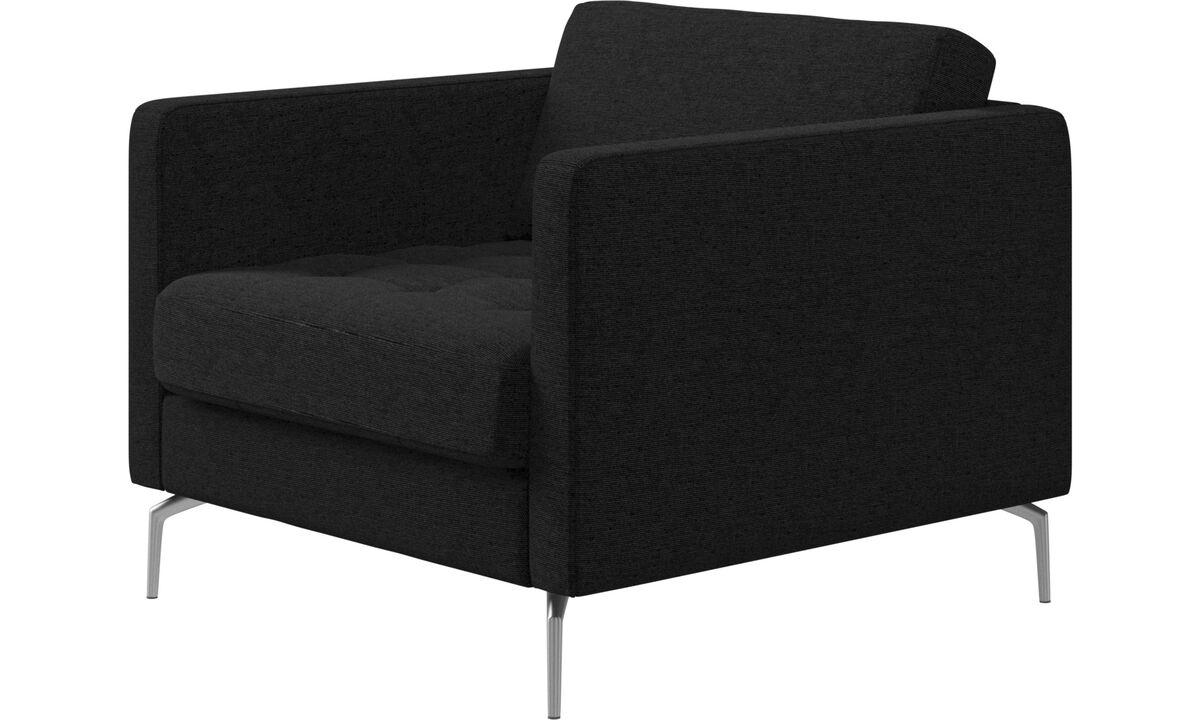Armchairs - Osaka chair, tufted seat - Grey - Fabric