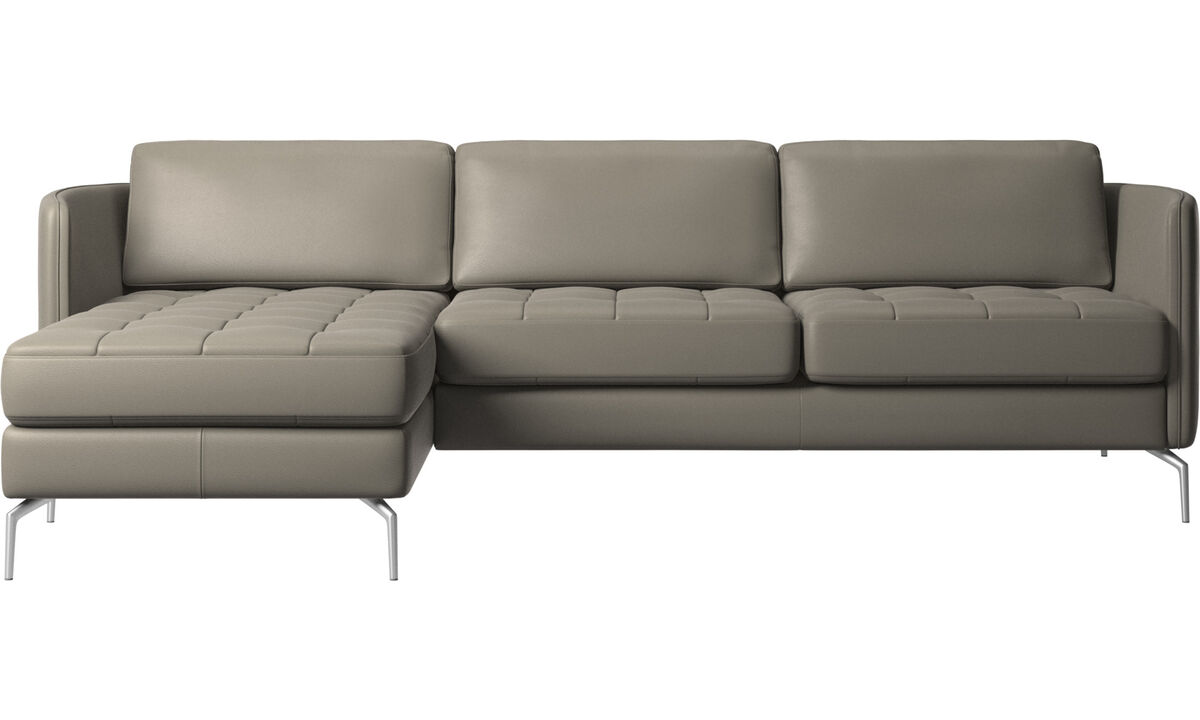 Sofás com chaise - sofá Osaka com módulo chaise-longue, assento tufado - Cinza - Couro