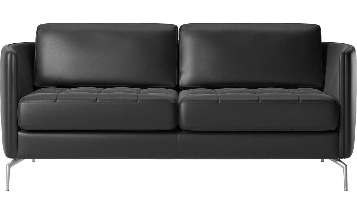 Sofás de 2 plazas - Sofá Osaka, asiento capitoné - En negro - Piel