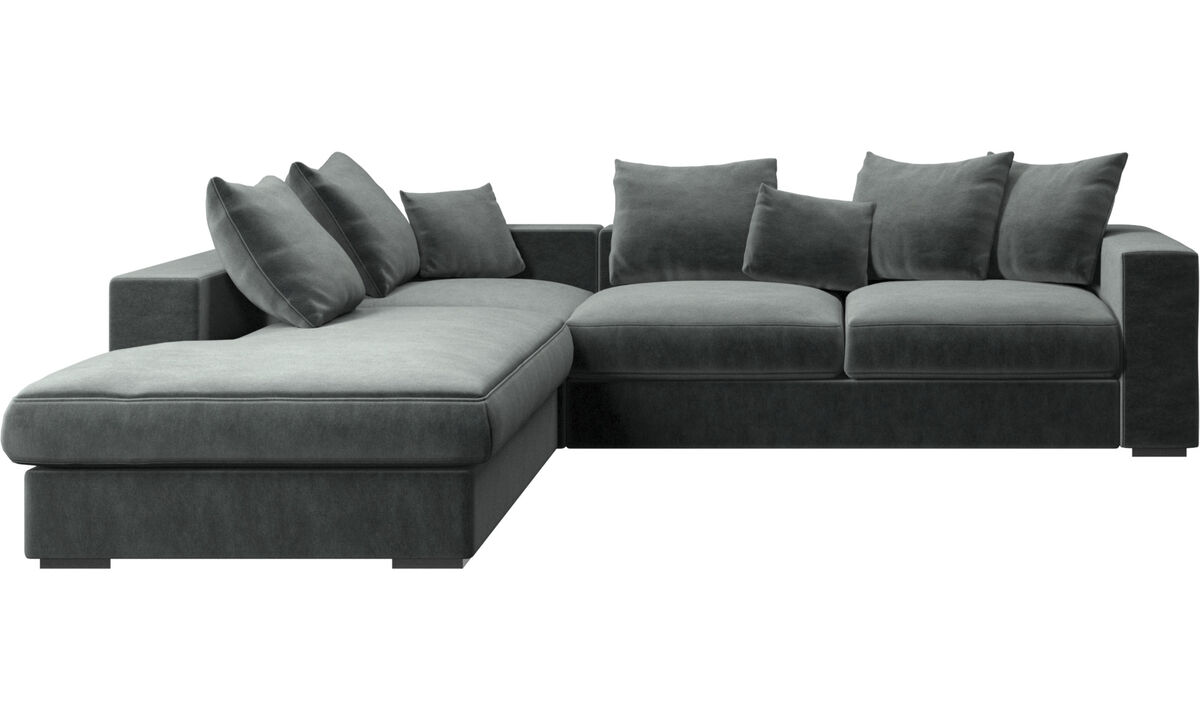 Sofas with open end - Cenova sofa with lounging unit - Green - Fabric