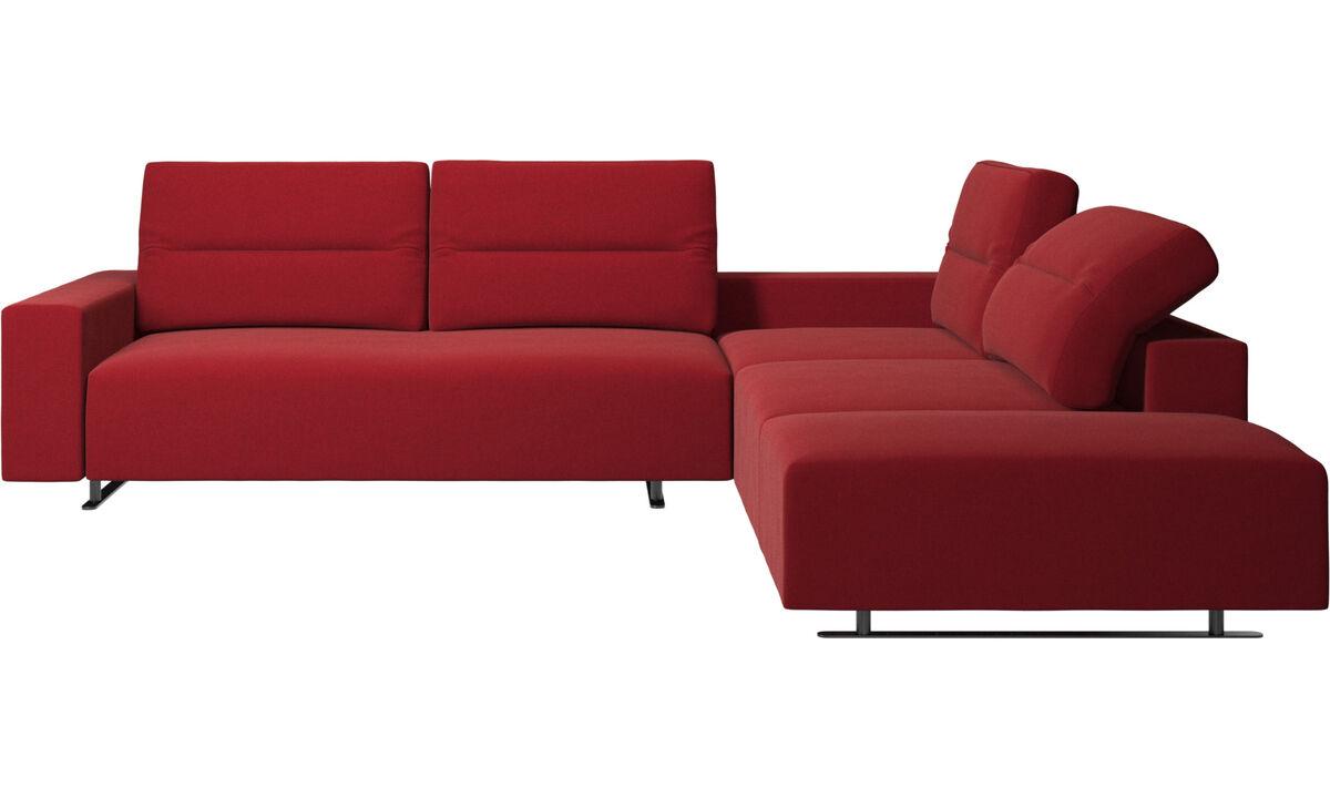 Sofás de canto - Sofá de canto Hampton com encosto ajustável e armazenamento na lateral esquerdo - Vermelho - Tecido