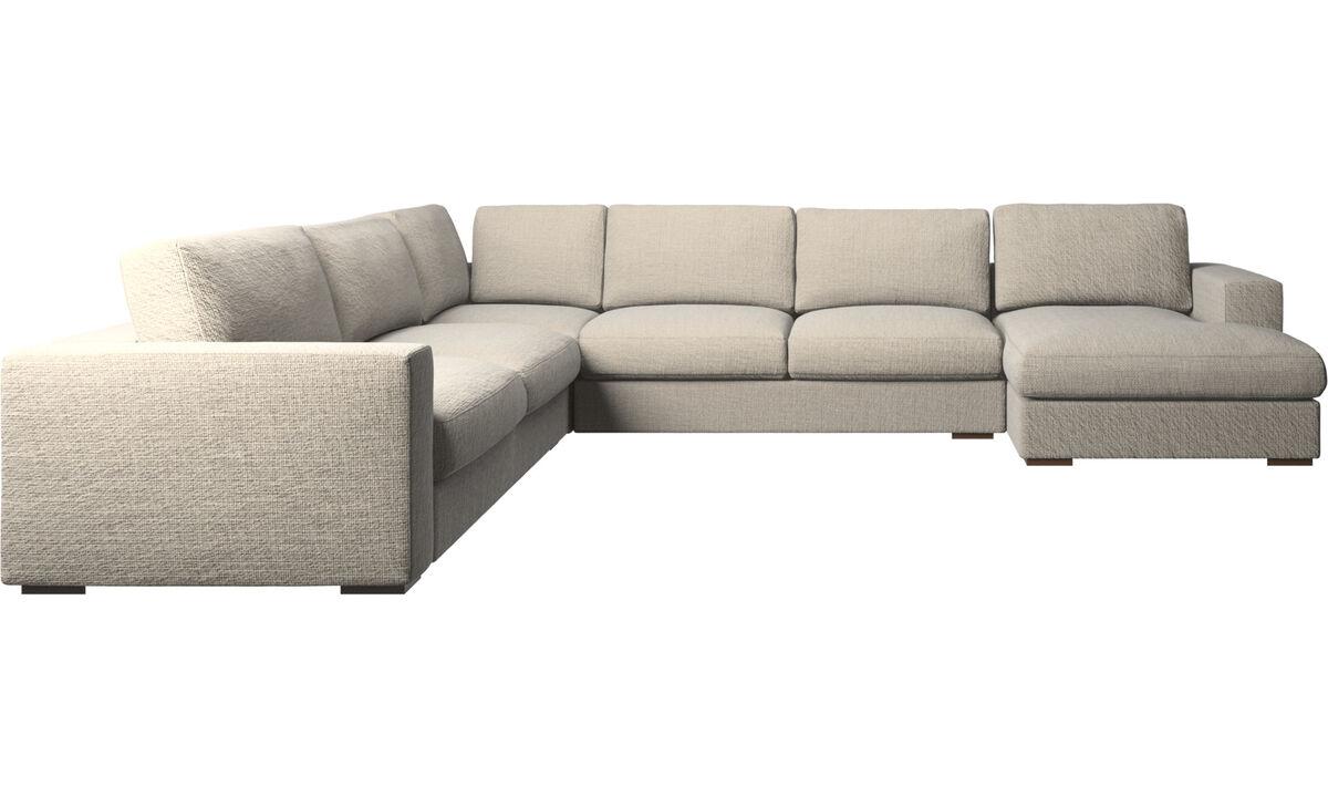 Sofás con chaise longue - sofá esquinero Cenova con módulo chaise-longue - En beige - Tela